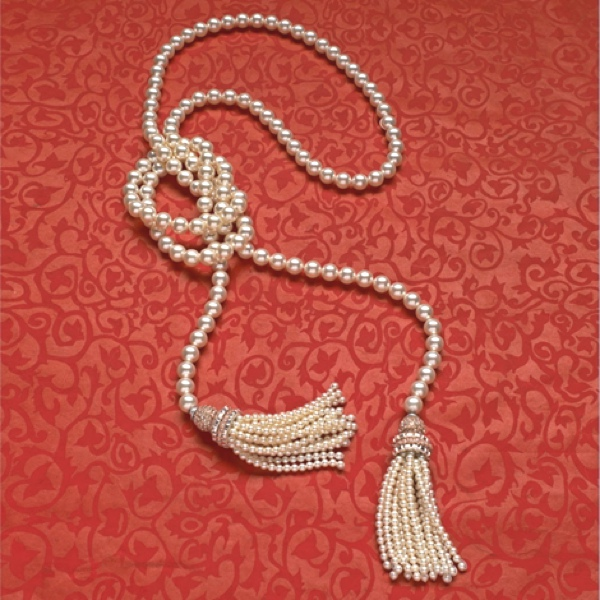 Lariat- bead style pearl  necklace