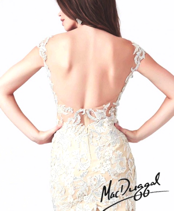 Mac Duggal 2014 lace prom dress color nude