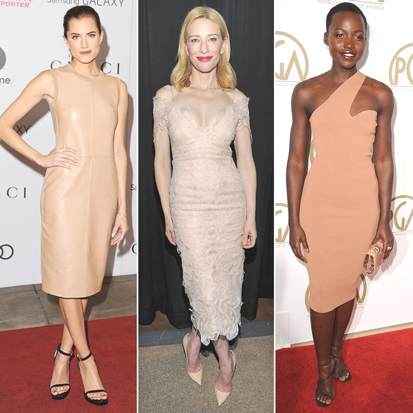 Nude-Dresses-Lupita Nyong'o, Allison Williams, and Cate Blanchett short