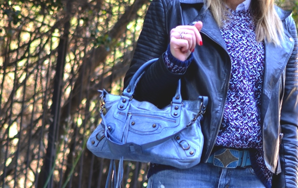 Balenciaga light blue handbag, street style