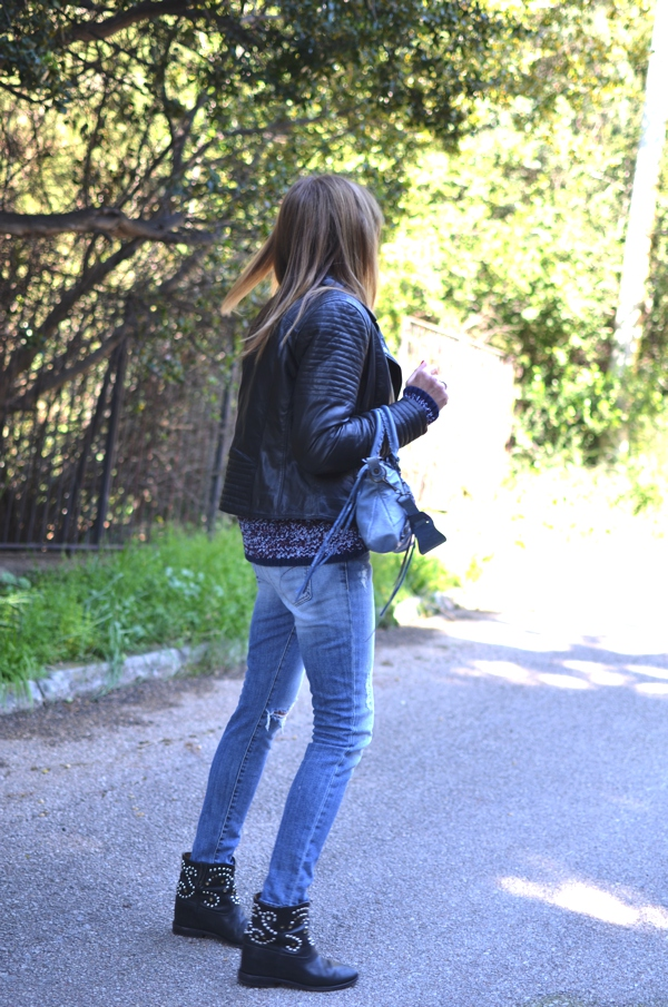 Light blue denim, leather jacket