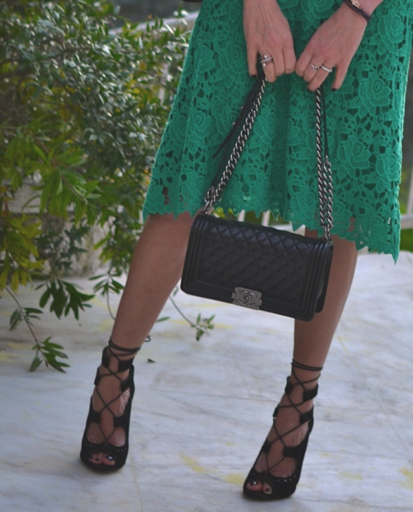 lace skirt and lace up Sante shoes sandals