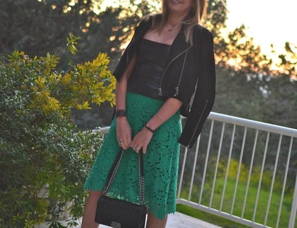 Street Style Trendsurvivor lace midi skirt15