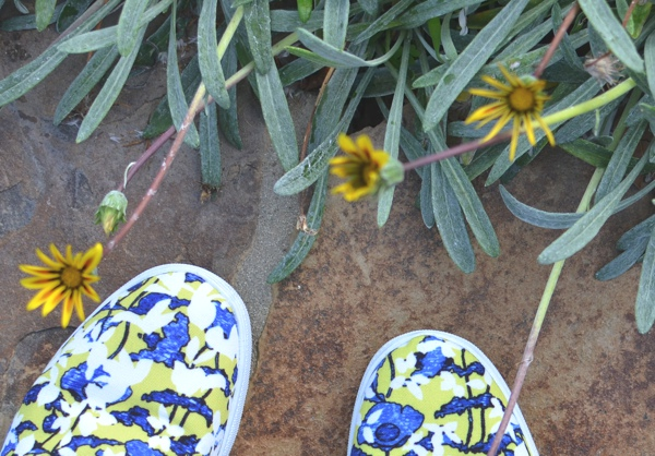 slip on floral sneaker yellow flower