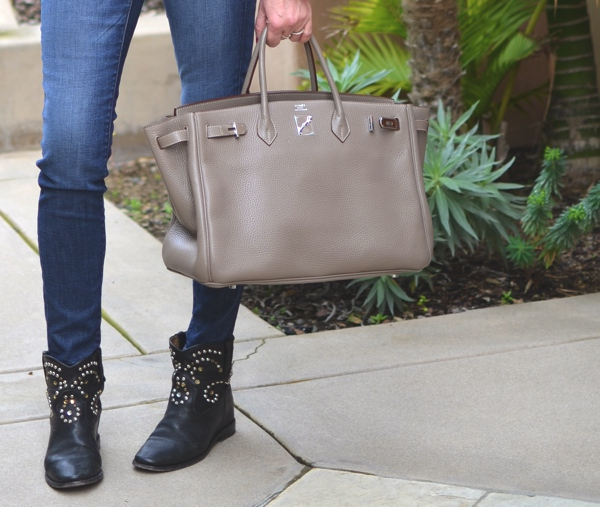 Birkin tupe Hermes bag Isabel Marant studded boots