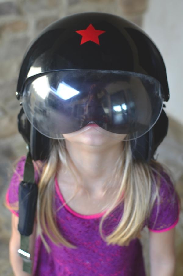 girl with motorcycle helmet