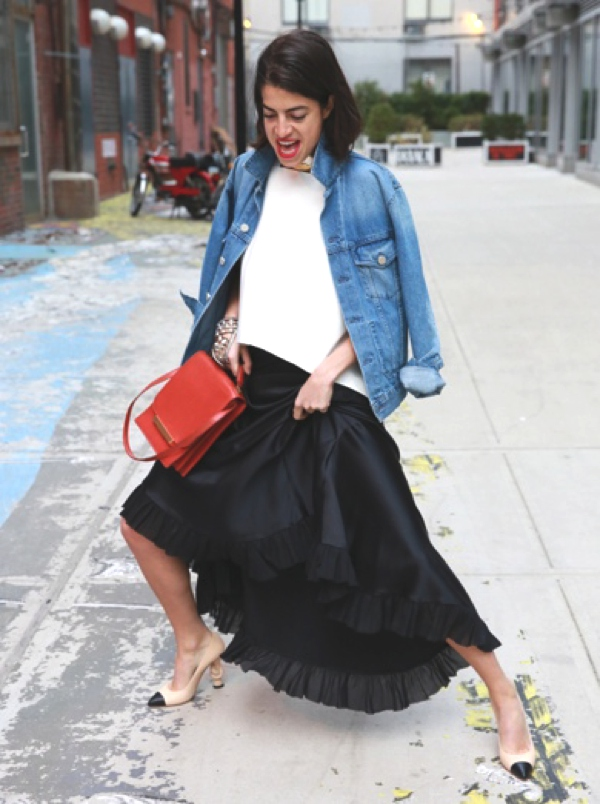man repeller maxi skirt and denim jacket
