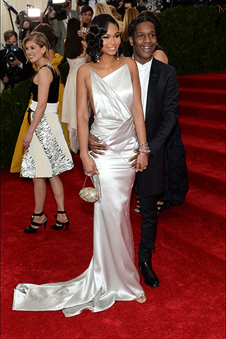 Chanel Iman, in custom Topshop, with Lorraine Schwartz jewels, and A$AP Rocky