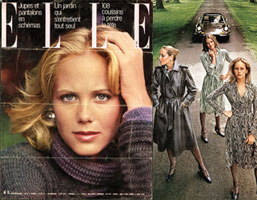 Cover of French Elle, 1974; a Saks Fifth Avenue ad featuring Jerry Hall, Lisa Taylor, and Griscom, circa 1977