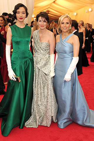 Fei Fei Sun, Marina Rust, and Tory Burch, all in custom gowns by the designer