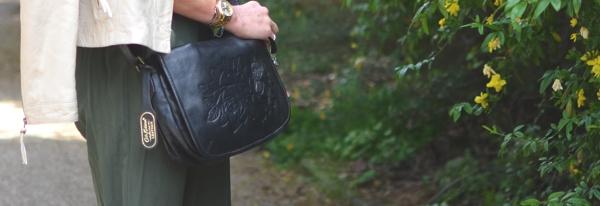 Cath Kidston black bag floral embossed