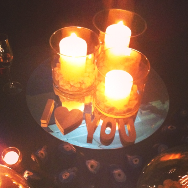 I love you candles centerpiece