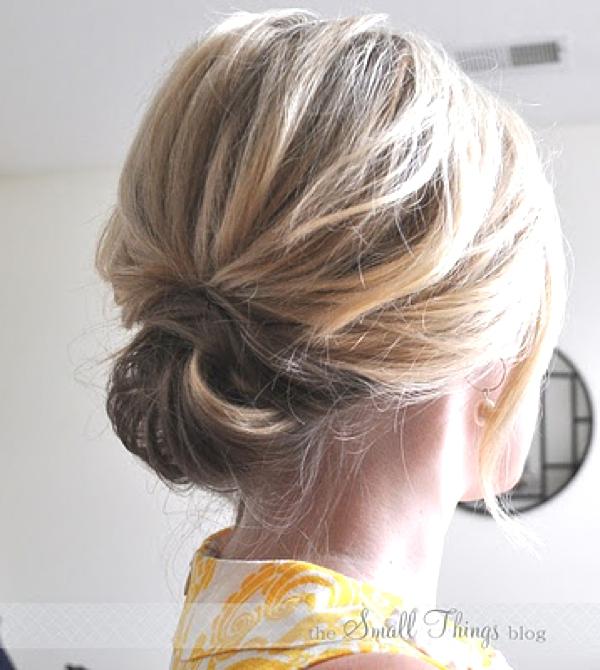 Прическа собранные волосы сзади на средние волосы