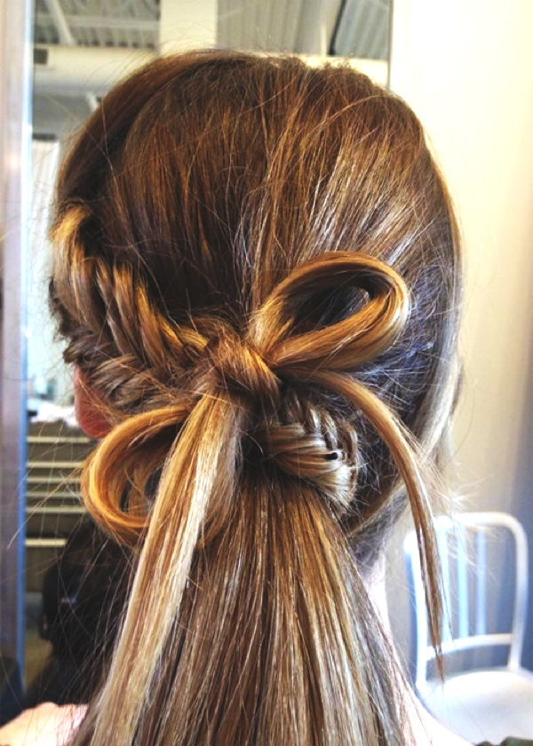 Inspiring Long Hair Summer Hairstyles, fishtail braid and a bow