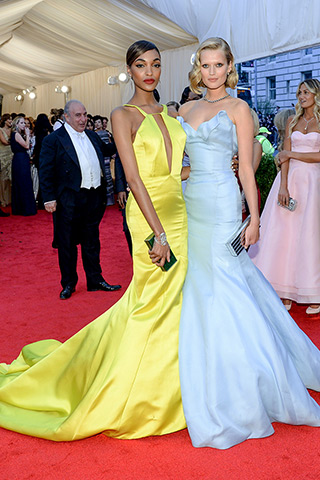 best Met Ball Gowns-Jourdan Dunn and Toni Garrn, both in custom Topshop