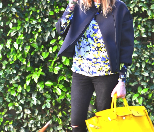 One on one jacket, floral print top