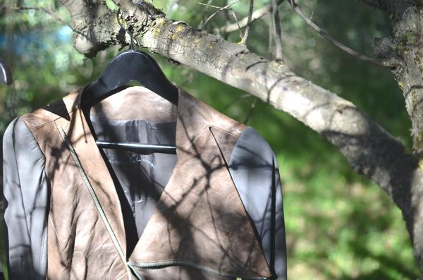 Rick owens leather jacket olive trees