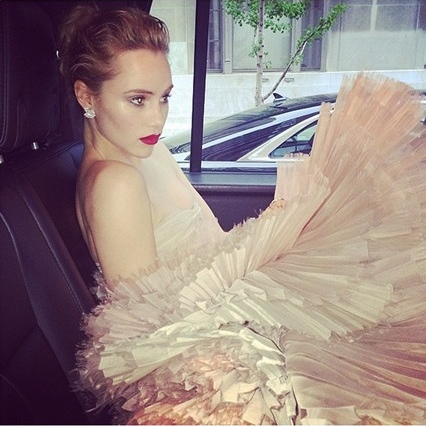 best Met Ball Gowns 2014-Suki Waterhouse makes her way to the Met Ball, where her boyfriend Bradley Cooper