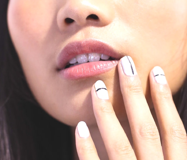Tibi-Spring-2014-nail polish white black line