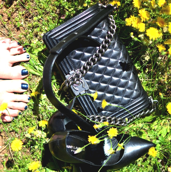 Saint Laurent pumps, Chanel boy bag black