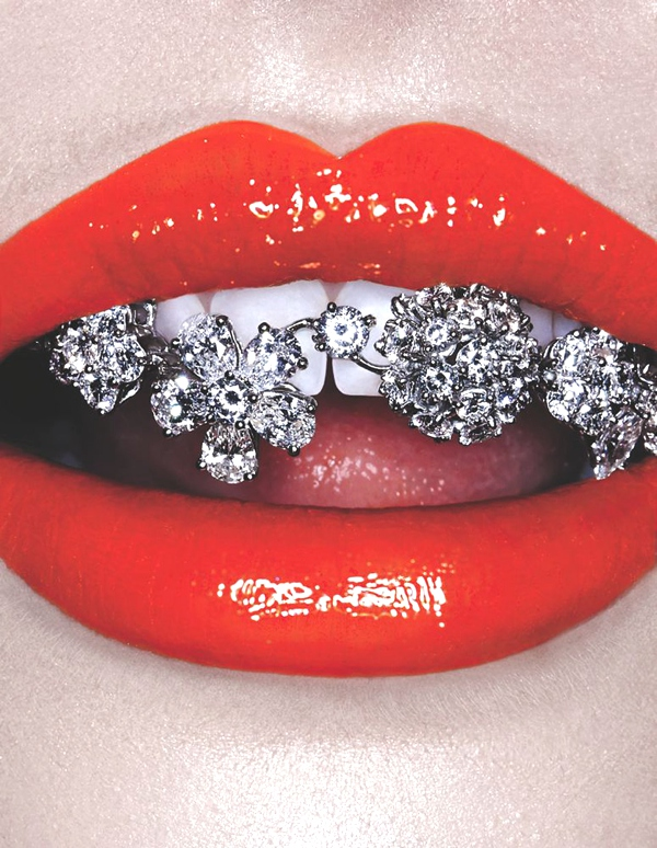 lips and diamond flowers