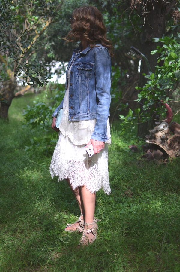 lace dress denim jacket, Isabel Marant Edris sandals