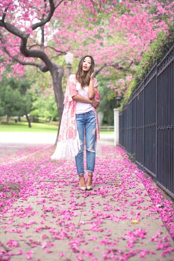 Aime Song pastel pink floral kimono