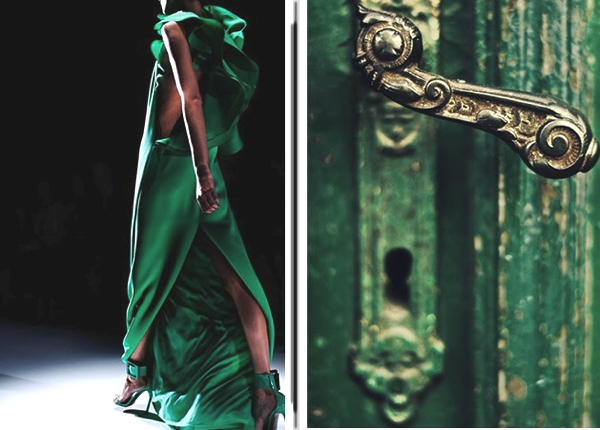 Emerald green dress and door