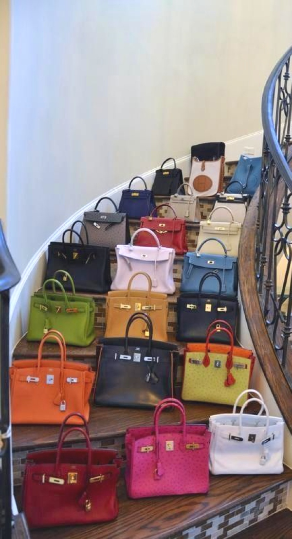 Hermes Birkin stairs all colors