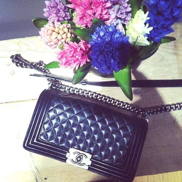 Chanel Boy black and flowers