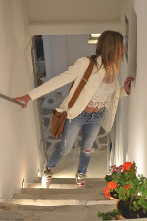 White Blazer, distressed denim Isabel Marant sneakers
