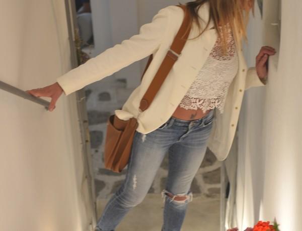 White Blazer, distressed denim Isabel Marant sneakers