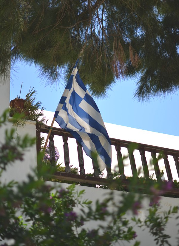 Greek flag balcony