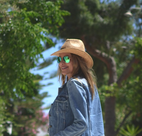 All Saints denim jacket straw hat