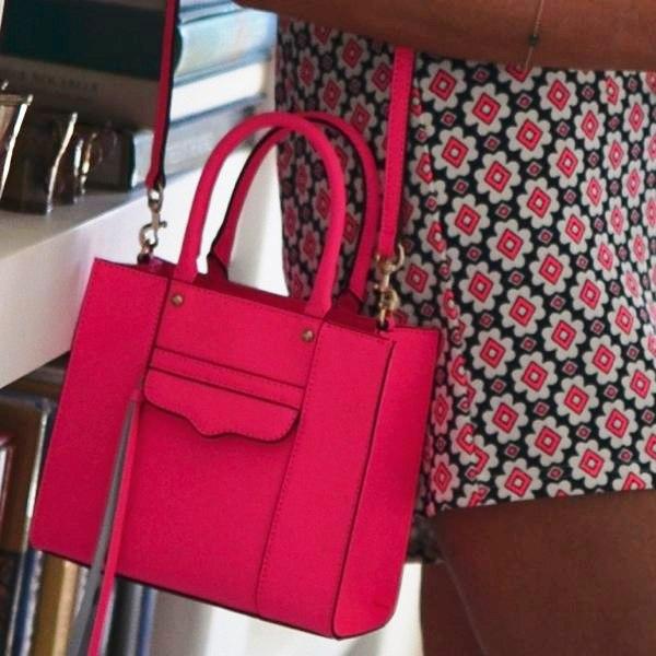 rebecca minkoff pink tote mini