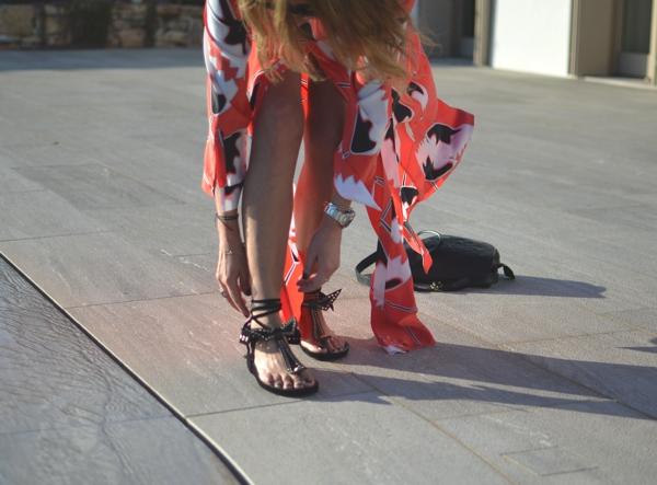 Orange Maxi Shirtdress and Edris Isabel Marant Sandals03
