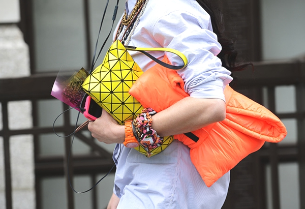 neon and orange clutch