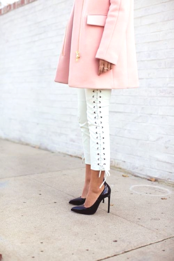 YSL shoes pink coat