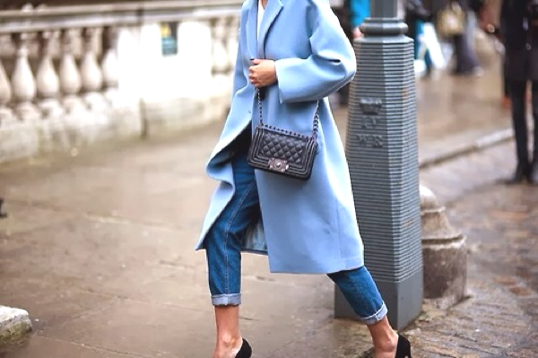 blue coat black accessories