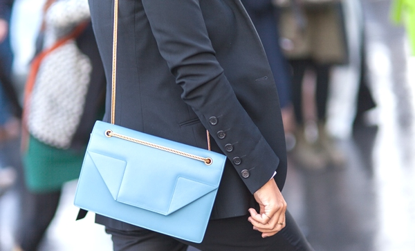 blue saint laurant bag -black suit