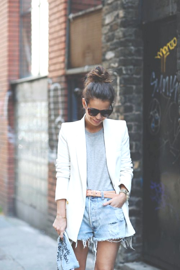 cut-off shorts white tailored jacket