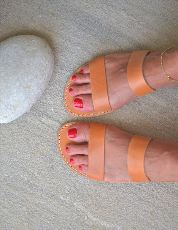summer Greek leather slides red nails