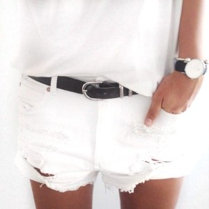 white denim cutoff shorts