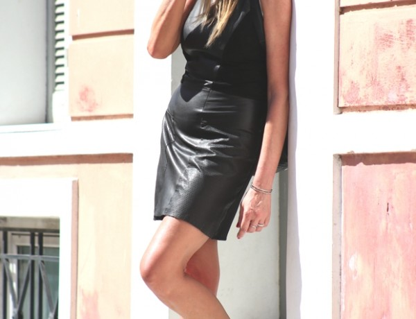 city total black leather look