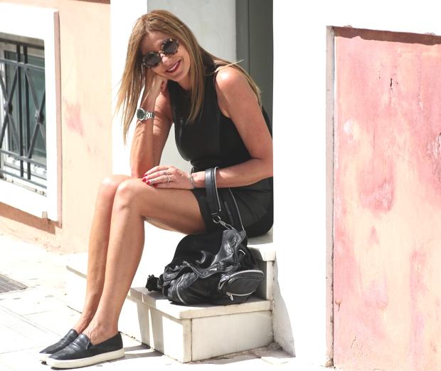 Nina Papaioannou- TrendSurvivor AlexanderWang backpack-black Maje black leather dress-Vince slip on sneakers