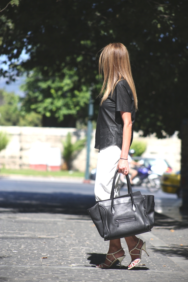 City Look- White Cropped pants Celine bag06