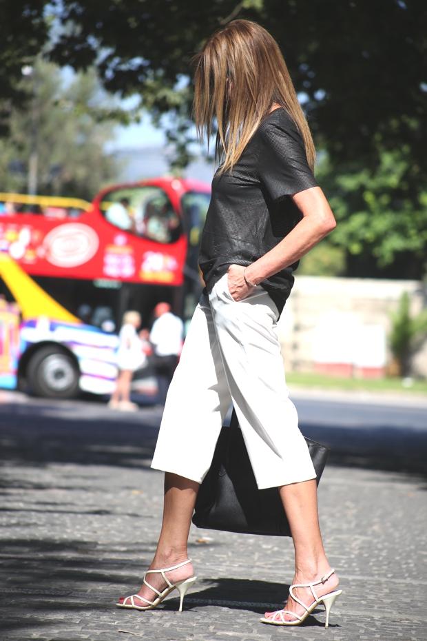 white culottes, Prada sandals Celine bag