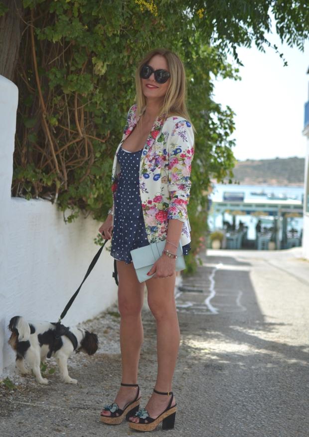 Floral tailored jacket polka dots