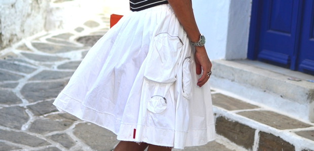 Prada full white skirt