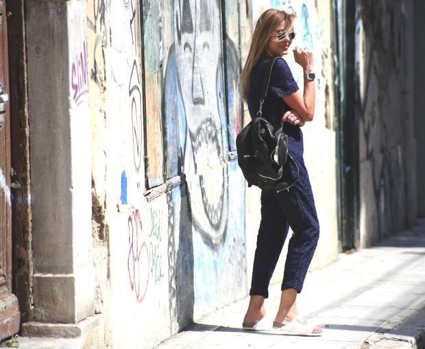 Street Style Lace playsuit Arizona Birkenstock Moscot sunglasses